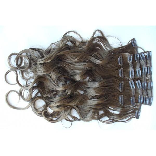 Волосы на заколках, набор. Русые голливудские локоны русые тон №18t