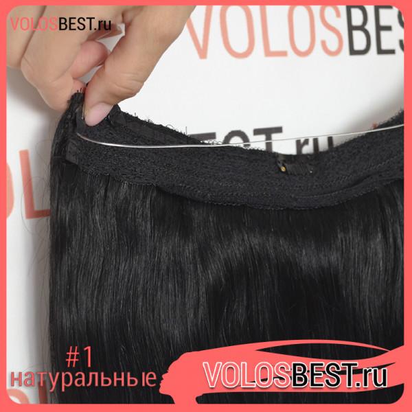 Натуральные волосы на леске прямые черные тон №1, 100 грамм, 50 см