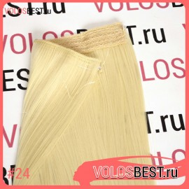 Волосы на леске прямые блонд №24