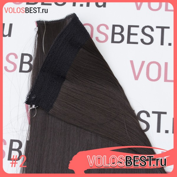 Волосы на леске прямые темно-коричневые  №2