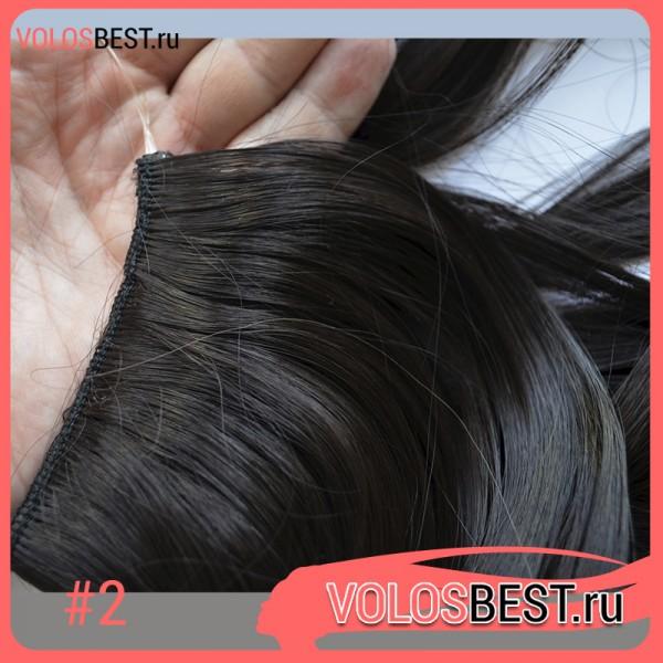 Волосы на леске завитые темно коричневые №2