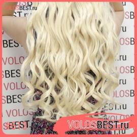 Волосы на леске завитые блонд №613