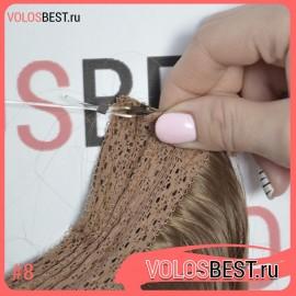 Волосы на леске завитые светло коричневые золотистые №8