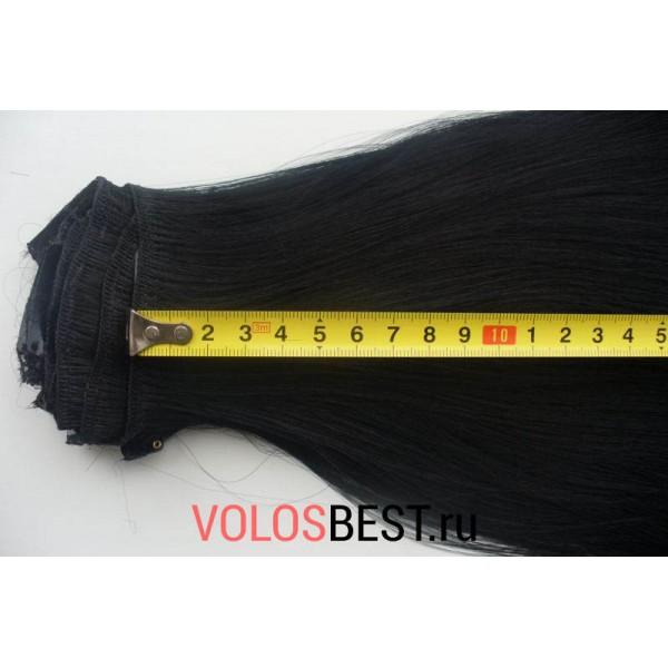 Волосы на заколках набор прямые черные тон №1