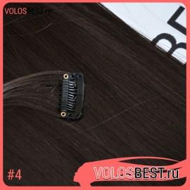 Волосы на заколках набор прямые шоколад тон №4