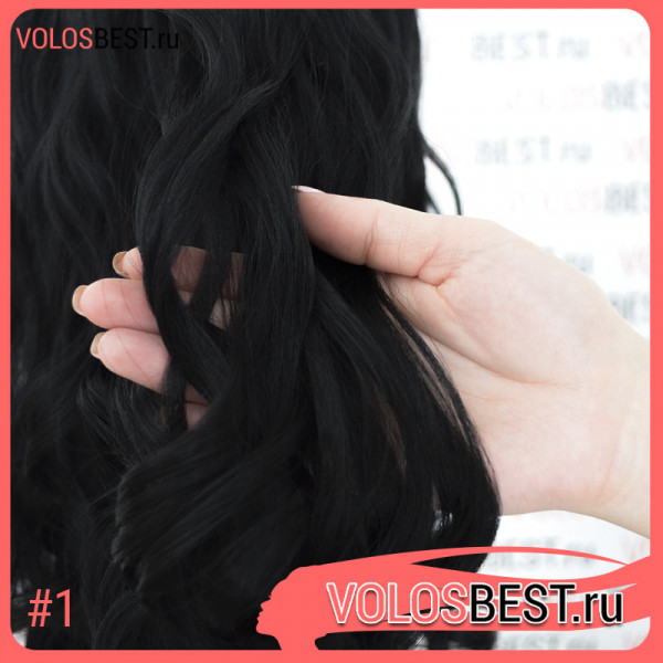 Волосы на заколках завитые черные набор №1
