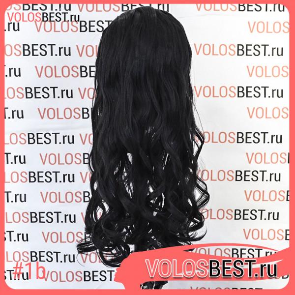 Волосы на заколках завитые почти черные №1b