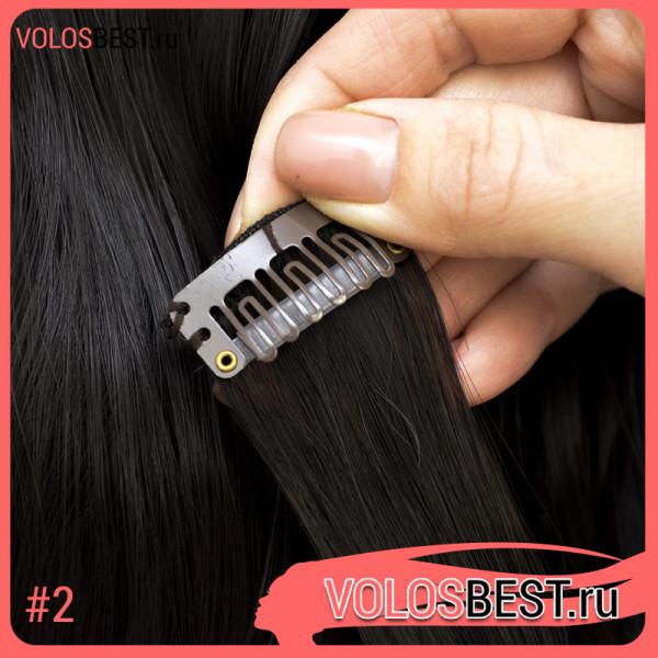 Волосы на заколках завитые темный шоколад набор №2