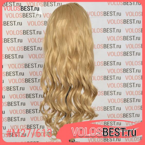 Волосы на заколках завитые мелированные золотистый блонд №M27/613